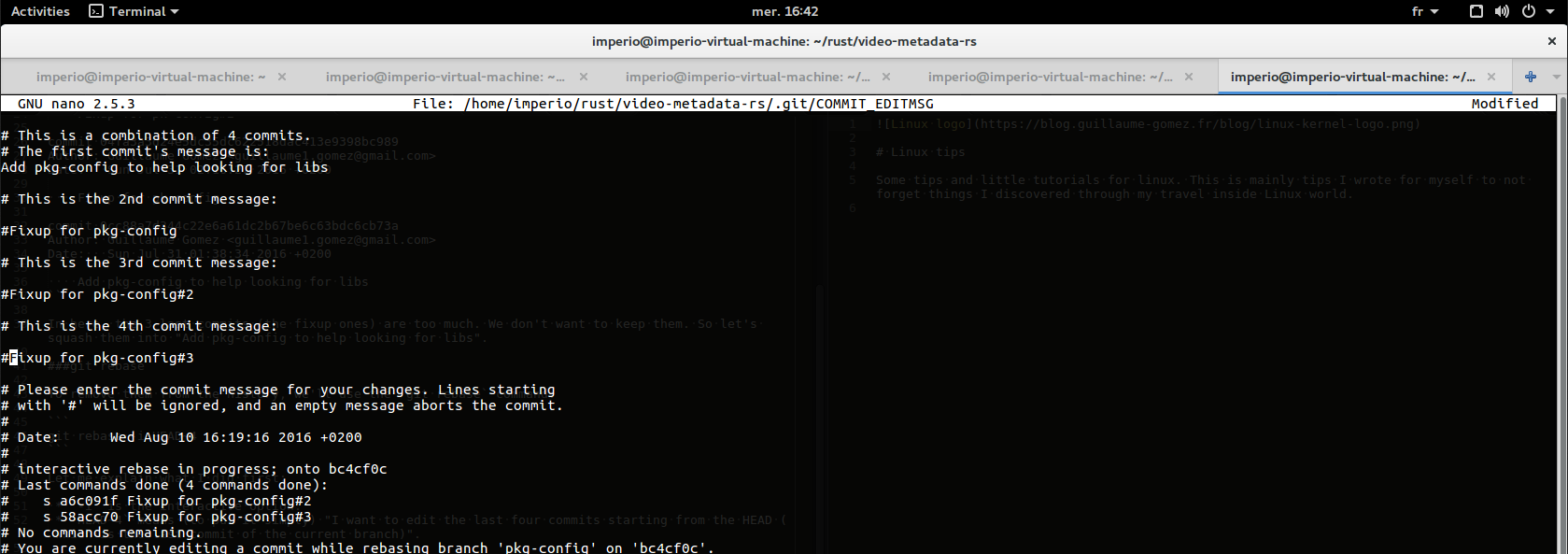 Git rebase amend screen