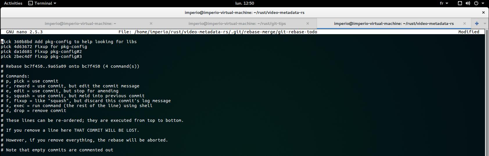 Git rebase screen