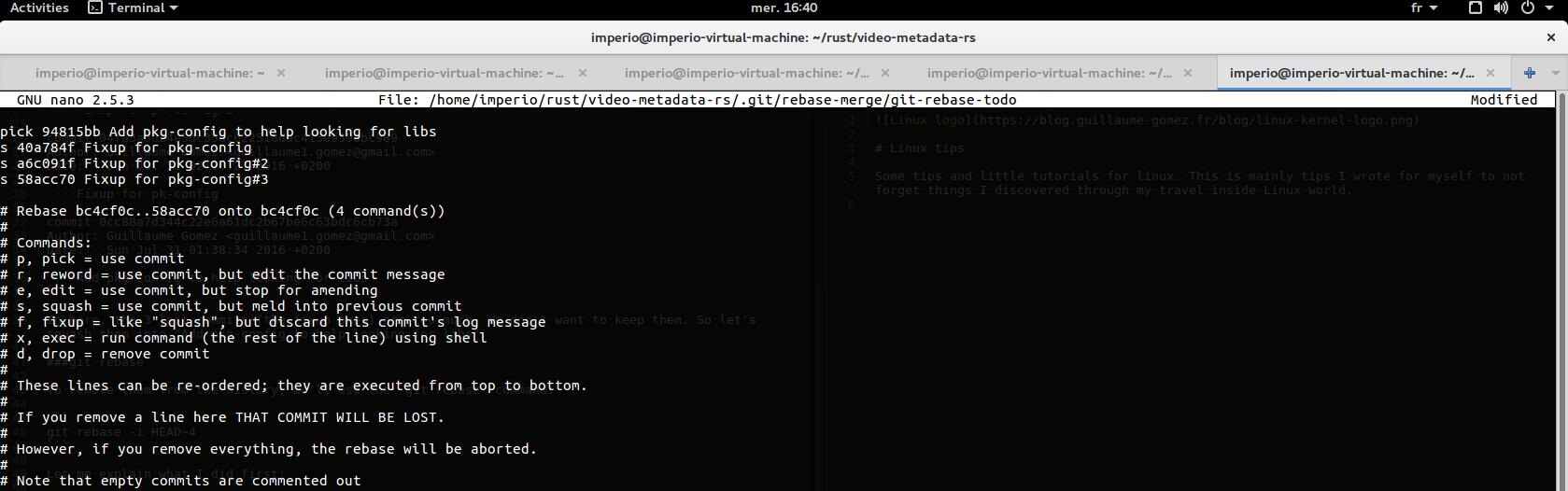 Git rebase squash screen