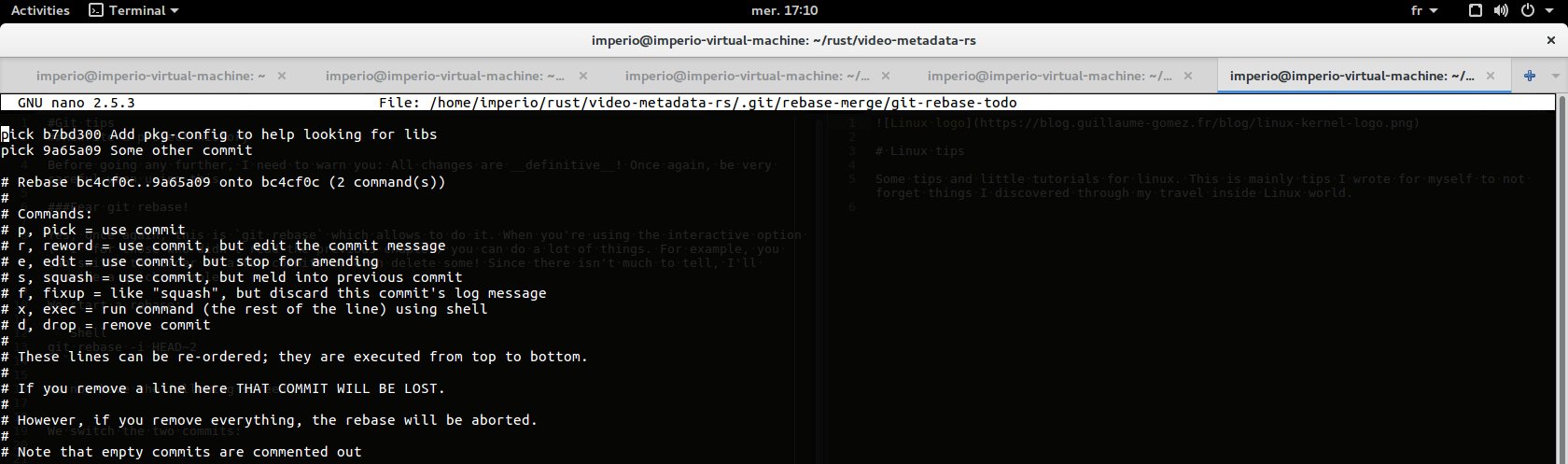 Git rebase screen