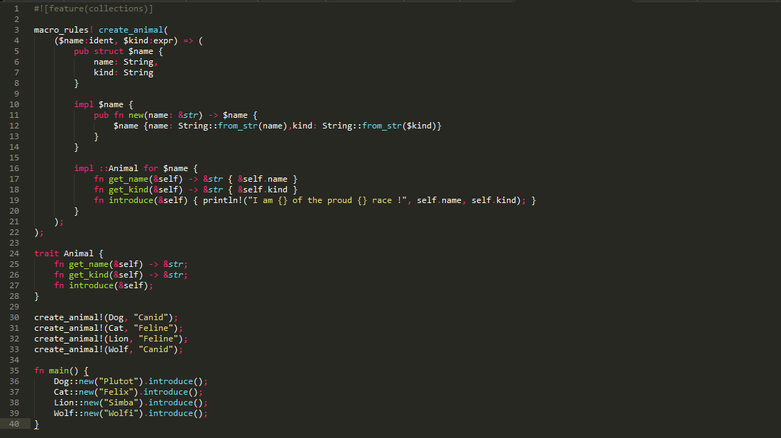 Screenshot de sublime text